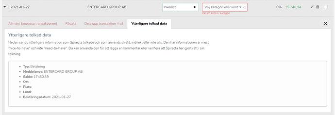 2021-02-05 19_34_18-Importera kontoutdrag från din bank _ Spirecta - Brave - Ytterligare tolkad data